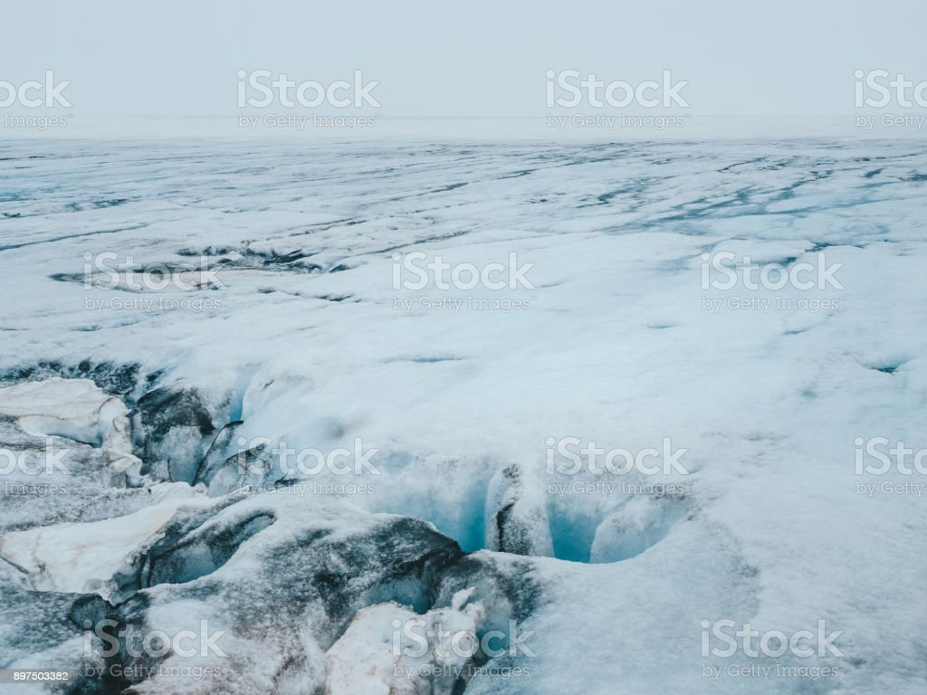 view of majestic Langjokull glacier in Iceland stock photo