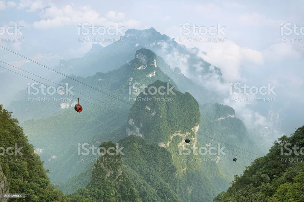 View of majestic peaks of Tianmen mountain stock photo