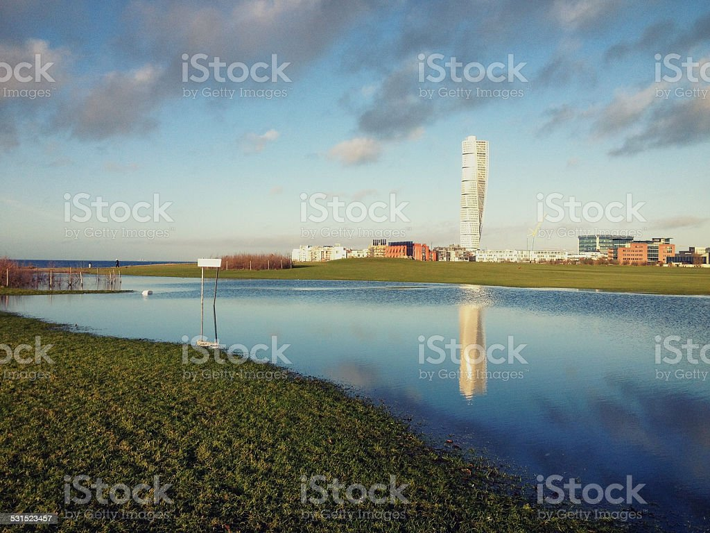 View of Malmo Western Harbour stock photo