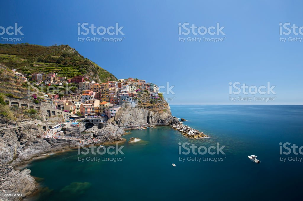 View of Manarola town (Long Exposure) stock photo