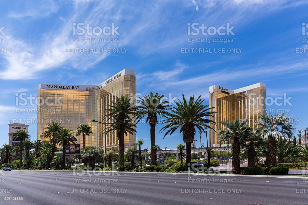 View of Mandalay Bay and Delano hotels and casinos stock photo