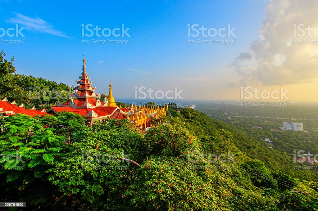 view of Mandalay from the top of Mandalay Hill,Myanmar stock photo