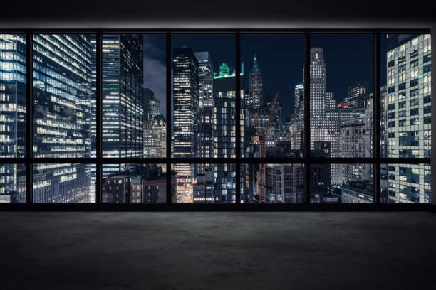 View of Manhattan at Night stock photo