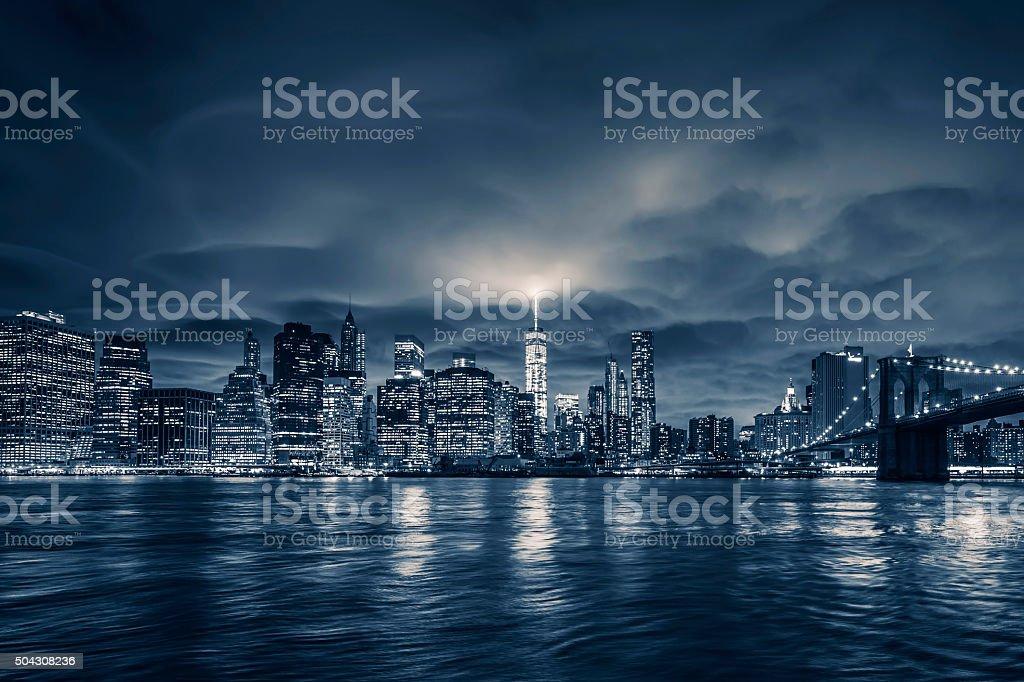 Blick auf Manhattan bei Nacht – Foto