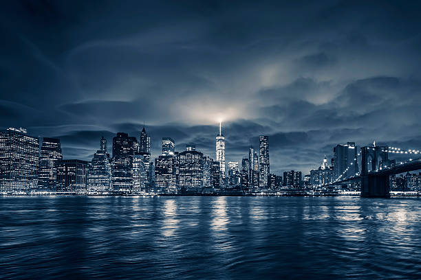 View of Manhattan at night View of Manhattan at night, New York City. lower manhattan stock pictures, royalty-free photos & images