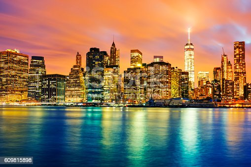 View of Manhattan at sunset, New York City. View from Brooklyn