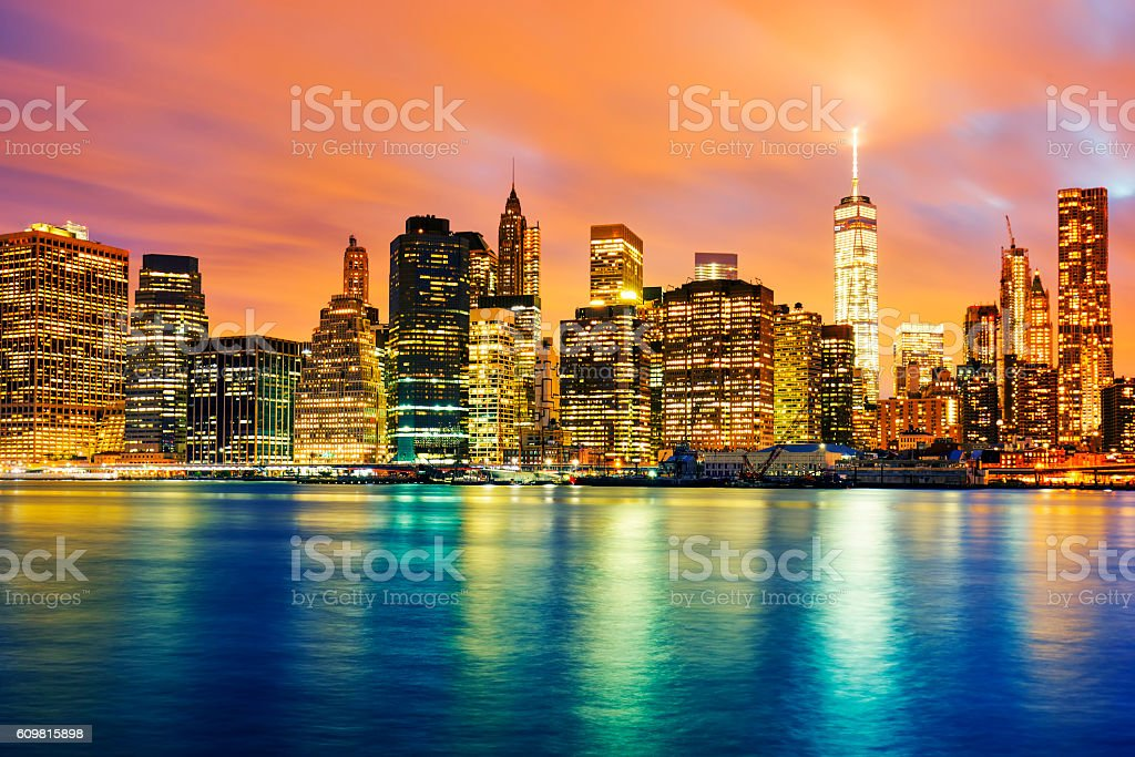 View of Manhattan at sunset stock photo