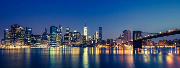View of Manhattan by night View of Manhattan by night, NYC. new york state stock pictures, royalty-free photos & images