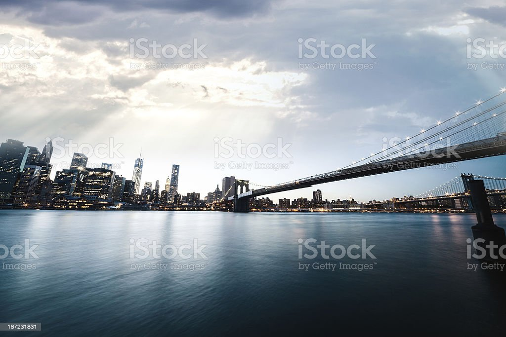 View of Manhattan Downtown skyscrapers royalty-free stock photo