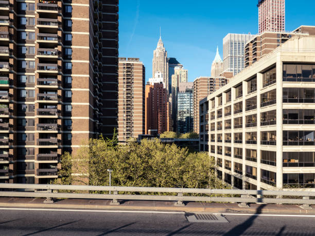 View Of Manhattan Financial District From Brooklyn Bridge stock photo
