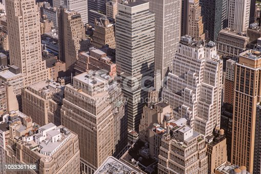 The aerial view of Manhattan of New York from above.