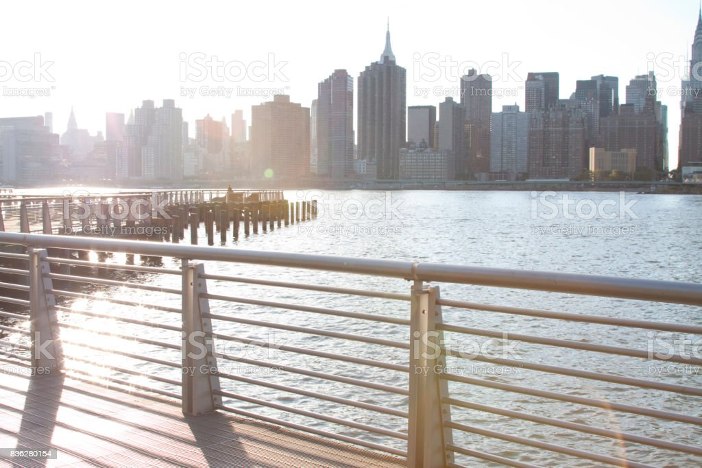 View of Manhattan from Long Inland City stock photo