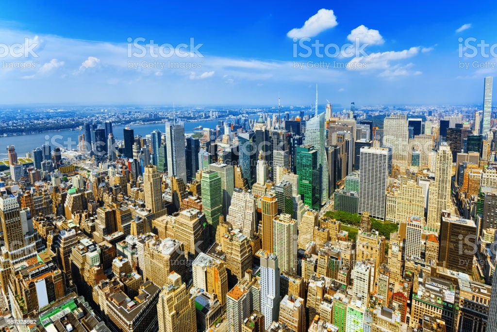 View of Manhattan from the skyscraper's observation deck. New York. stock photo