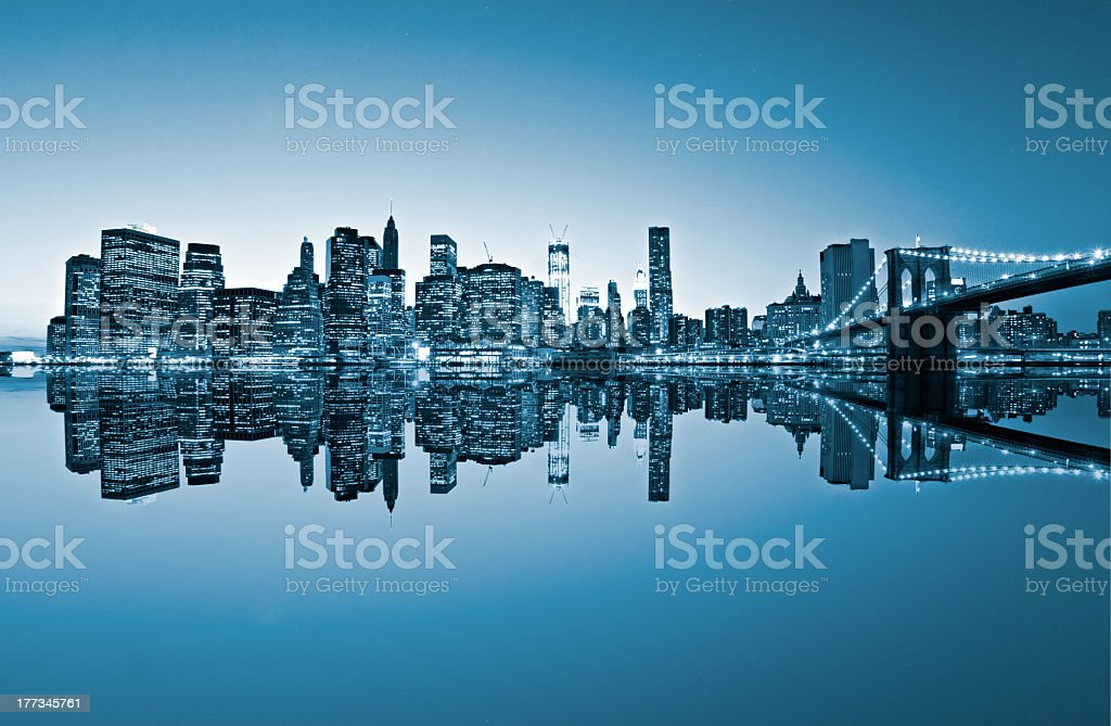 View of Manhattan, New York City. USA. Blue toned image. royalty-free stock photo
