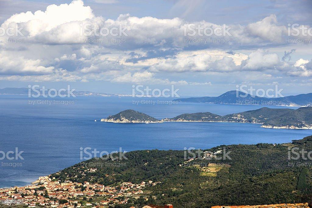 View of Marciana Marina and Elba island, Tuscany. royalty-free stock photo