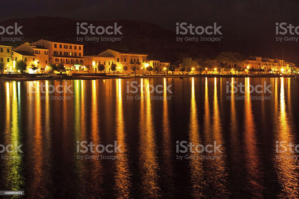 View of Marciana Marina in night royalty-free stock photo