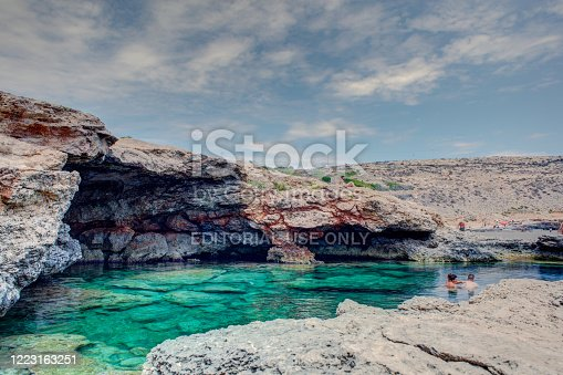 Lampedusa, Italy - August, 04: View of Mare Morto beach on August 04, 2018