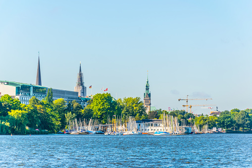 View of marina on the aussenalster lake in Hamburg, Germany