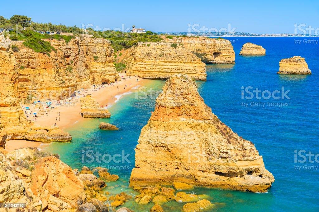 A view of Marinha beach and cliffs on coast of Portugal near Carvoeiro town stock photo
