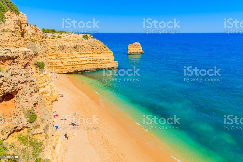 View of Marinha beach with golden color cliff rocks near Carvoeiro town, Algarve region, Portugal stock photo