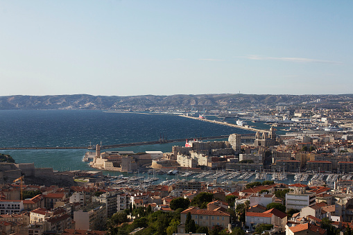 Colour photograph of the View of Marseille from Notre-Dame-de-la-Garde in Southern France