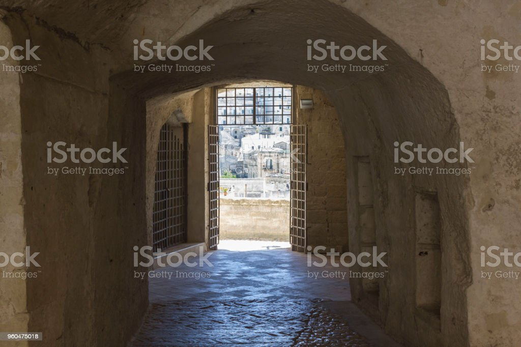 View of Matera from the historic Palombaro cistern caved interiors - foto stock