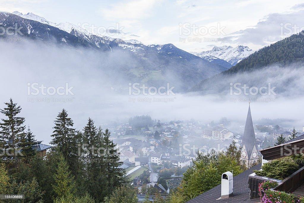 View of Matrei alp village stock photo