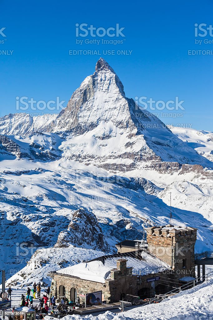 View of Matterhorn from Gornergrat train station stock photo
