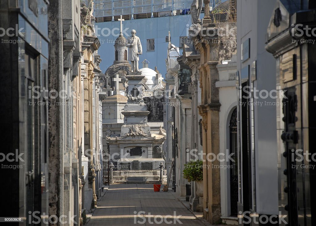 View of Mausoleums in Recoleta Cemetary in Argentina stock photo