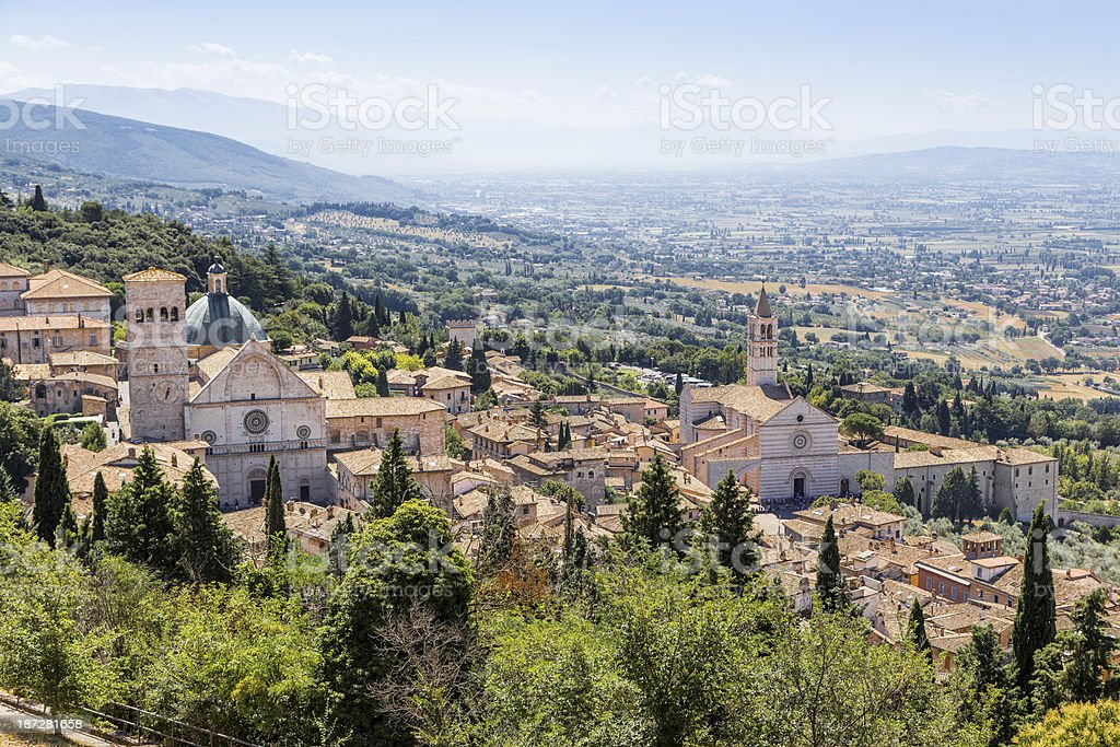 view of medieval Assisi town, Italy stock photo
