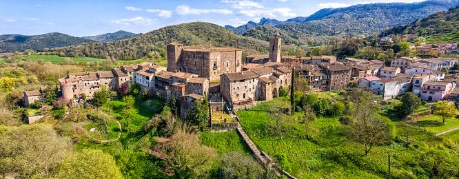 view of Medieval Village of Santa Pau, La garrotxa, Catalonia, Spain