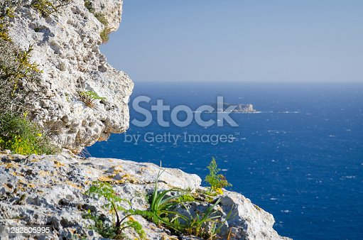 View of Mediterranean sea and the island of Filfla from Dingli Cliffs, Malta