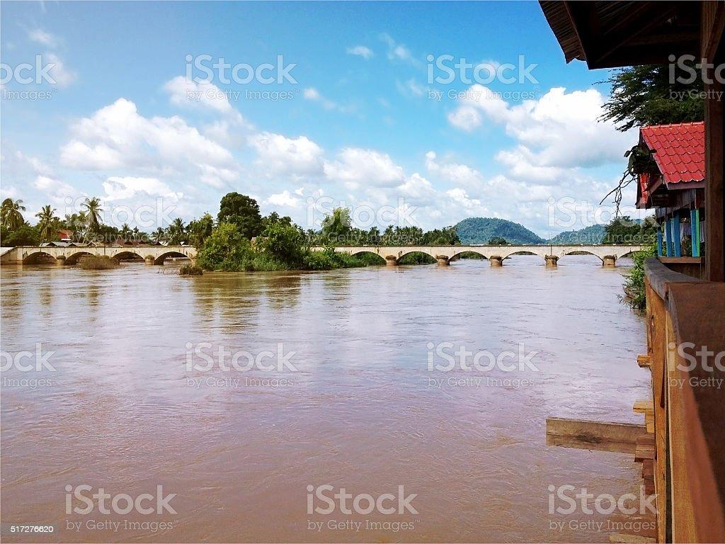 View of Mekong River and bridge stock photo