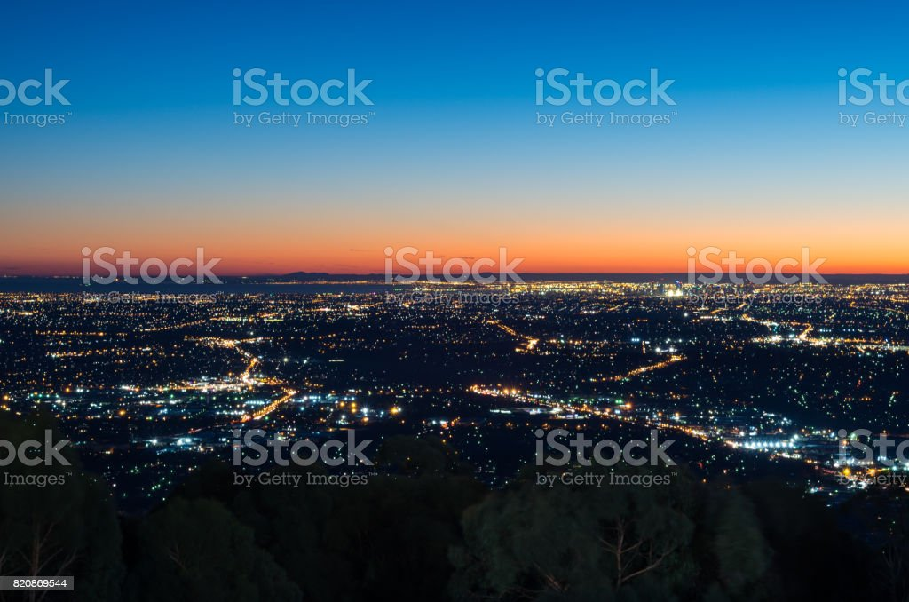 View of Melbourne at sunset from Mount Dandenong stock photo