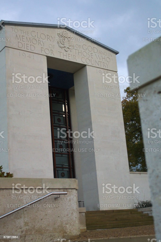 View of Memorial hall from steps stock photo