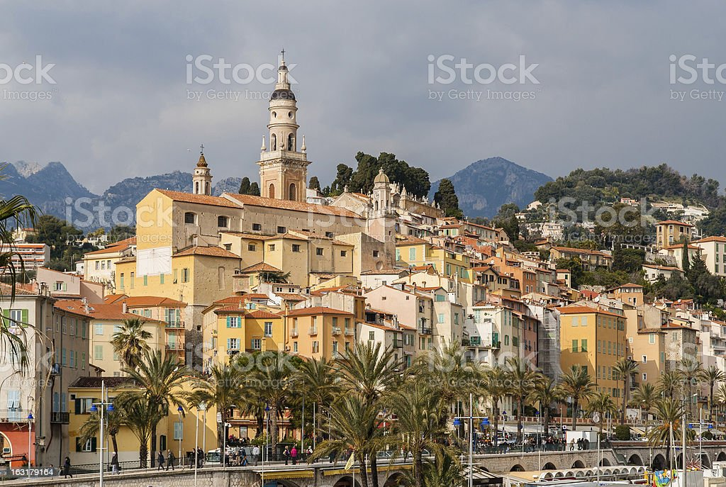 View of Menton city - French Riviera, France stock photo