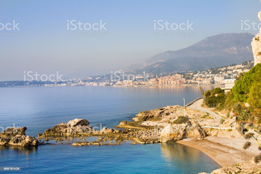 View of Menton (France) from a beach in Ventimiglia (Italy) stock photo