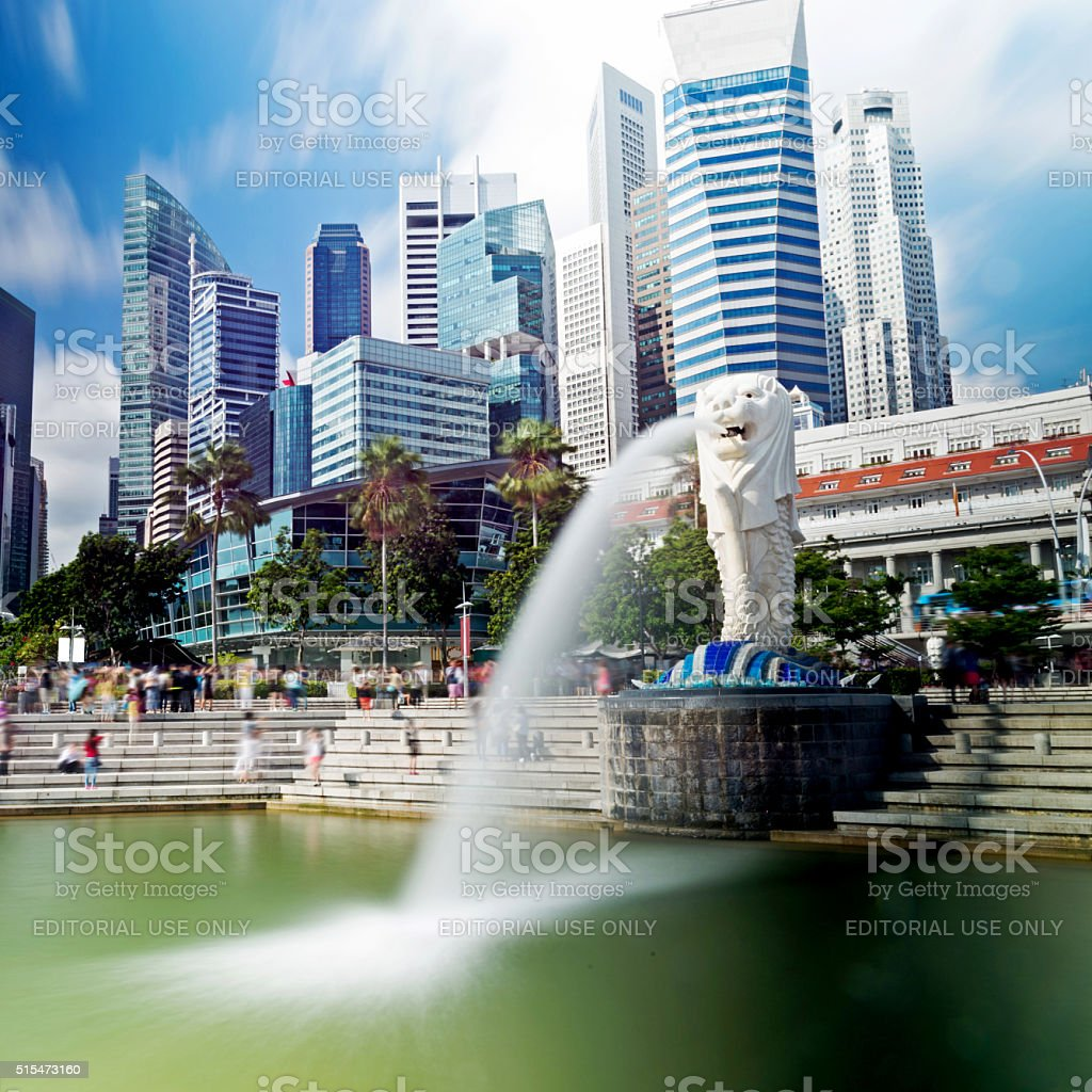 View of Merlion fountain in Singapore stock photo