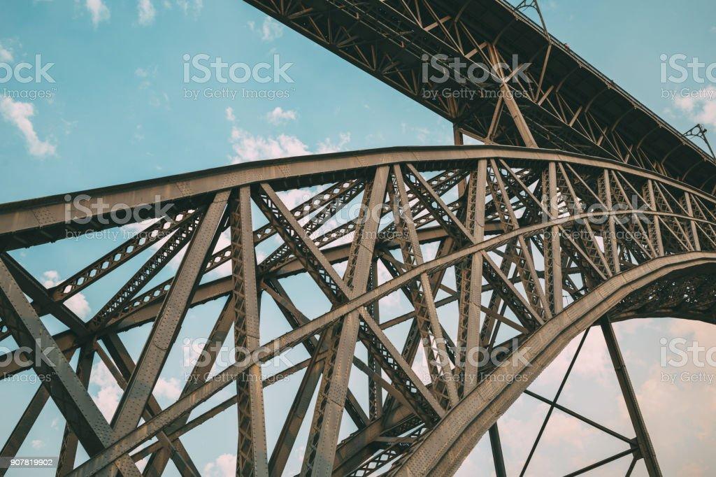 View of metal bridge of Porto stock photo