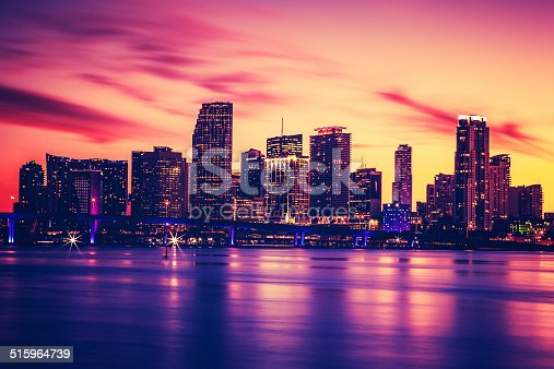 istock View of Miami at sunset, special photographic processing 515964739