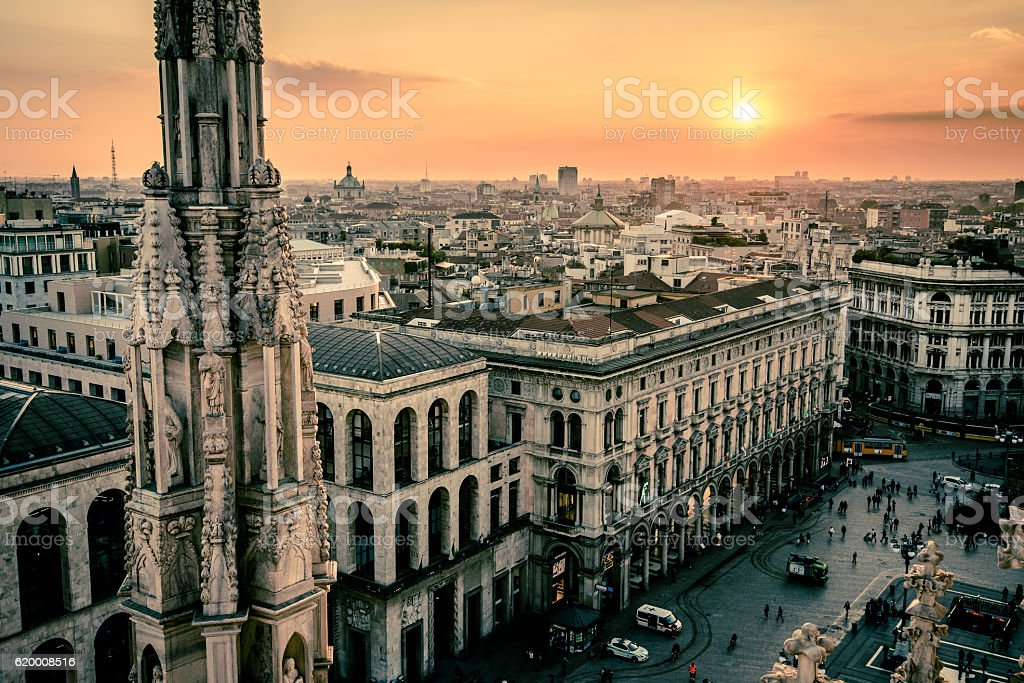 view of Milan city from Duomo roof terrace at dusk foto de stock royalty-free