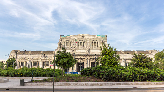 View of Milano Centrale rail station, Italy