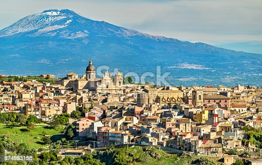 View of Militello in Val di Catania with Mount Etna in the background - Sicily, Southern Italy