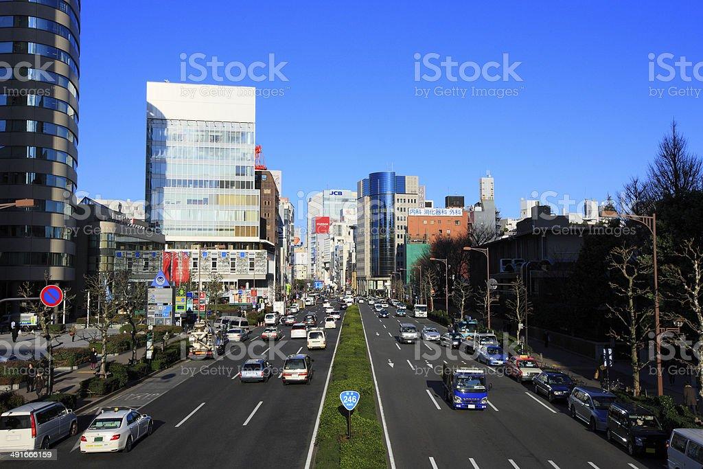 View of 南青山 5 丁目青山通りから ストックフォト