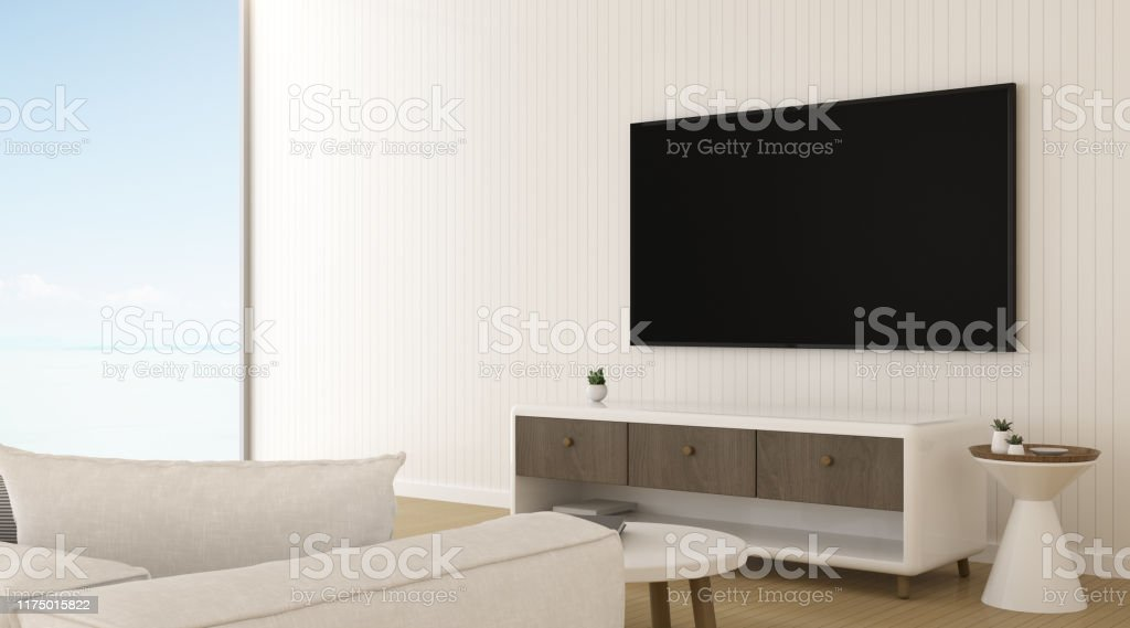 View Of Minimal Living Room With Television On Wallinterior Design With Tv And Cabinet 3d Rendering Stock Photo Download Image Now Istock