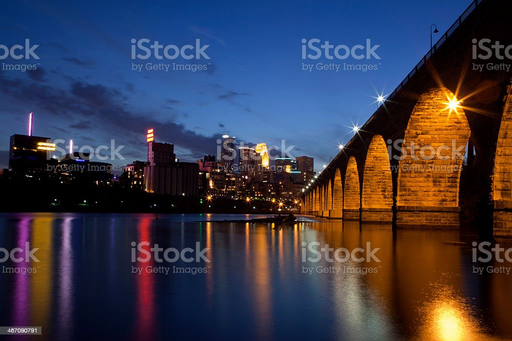 View of Minneapolis Minnesota on the Mississippi River front stock photo