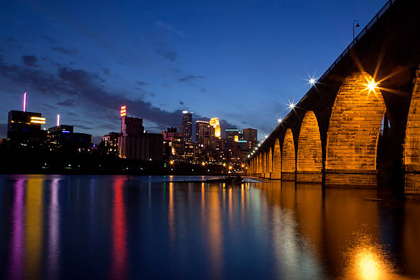 View of Minneapolis Minnesota on the Mississippi River front
