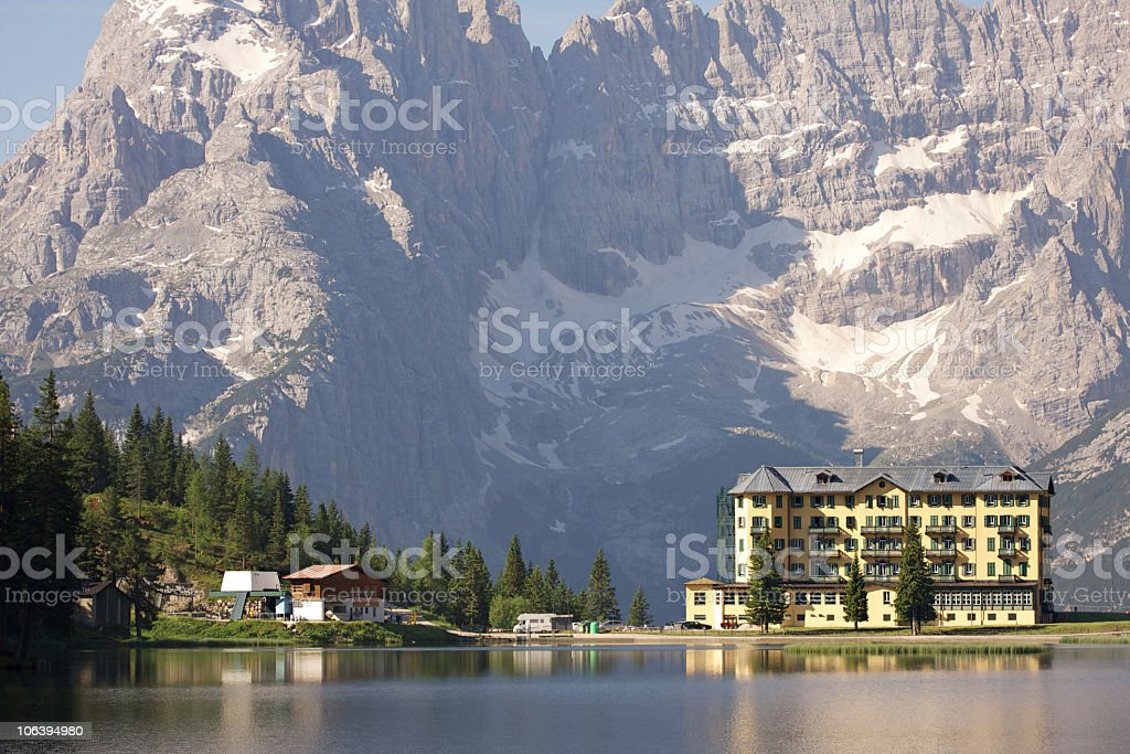 Blick auf See lake Misurina in den Dolomiten – Foto
