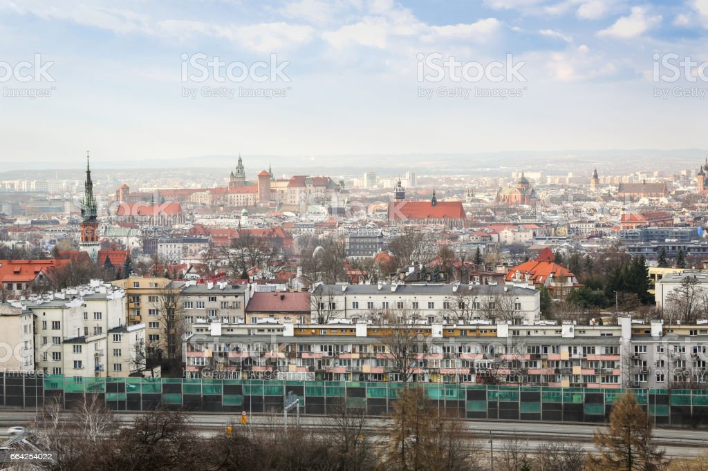View of modern and historic Krakow, Poland stock photo