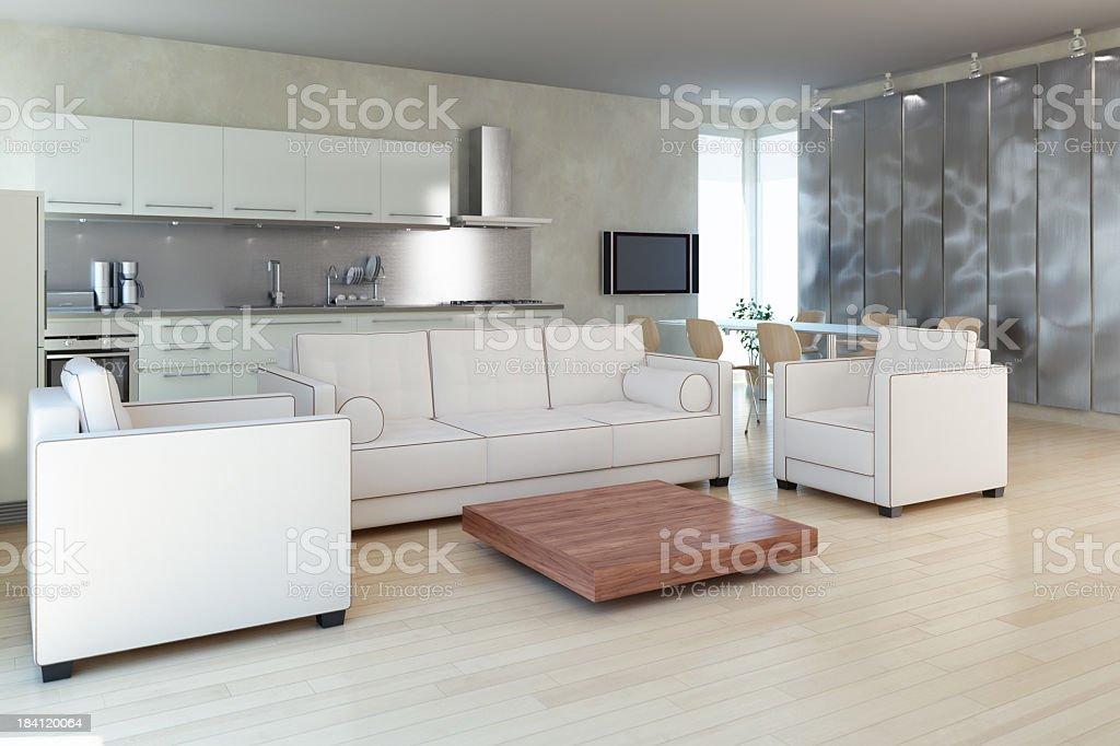 View of modern apartment mostly in white and silver royalty-free stock photo